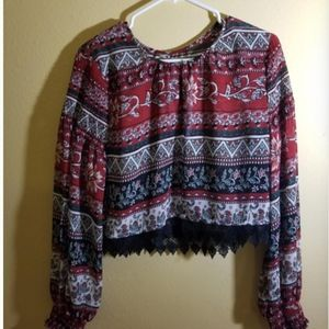 Tops - Red Black White Green Blouse Shirt Lace Long